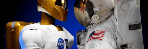 Two astronuaghts talking to eachotehr