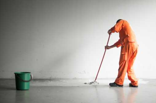 Worker cleaning