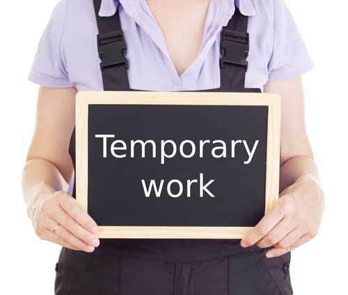Person holding a temporary work sign