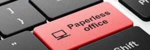 Button saying paperless office