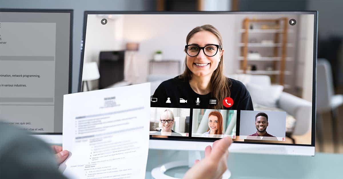 Team receive training via a video call